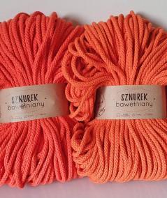Porównanie sznurka pomarańczowego (po lewej) i pomrańczowego z odcieniem łososiowego (po prawej)