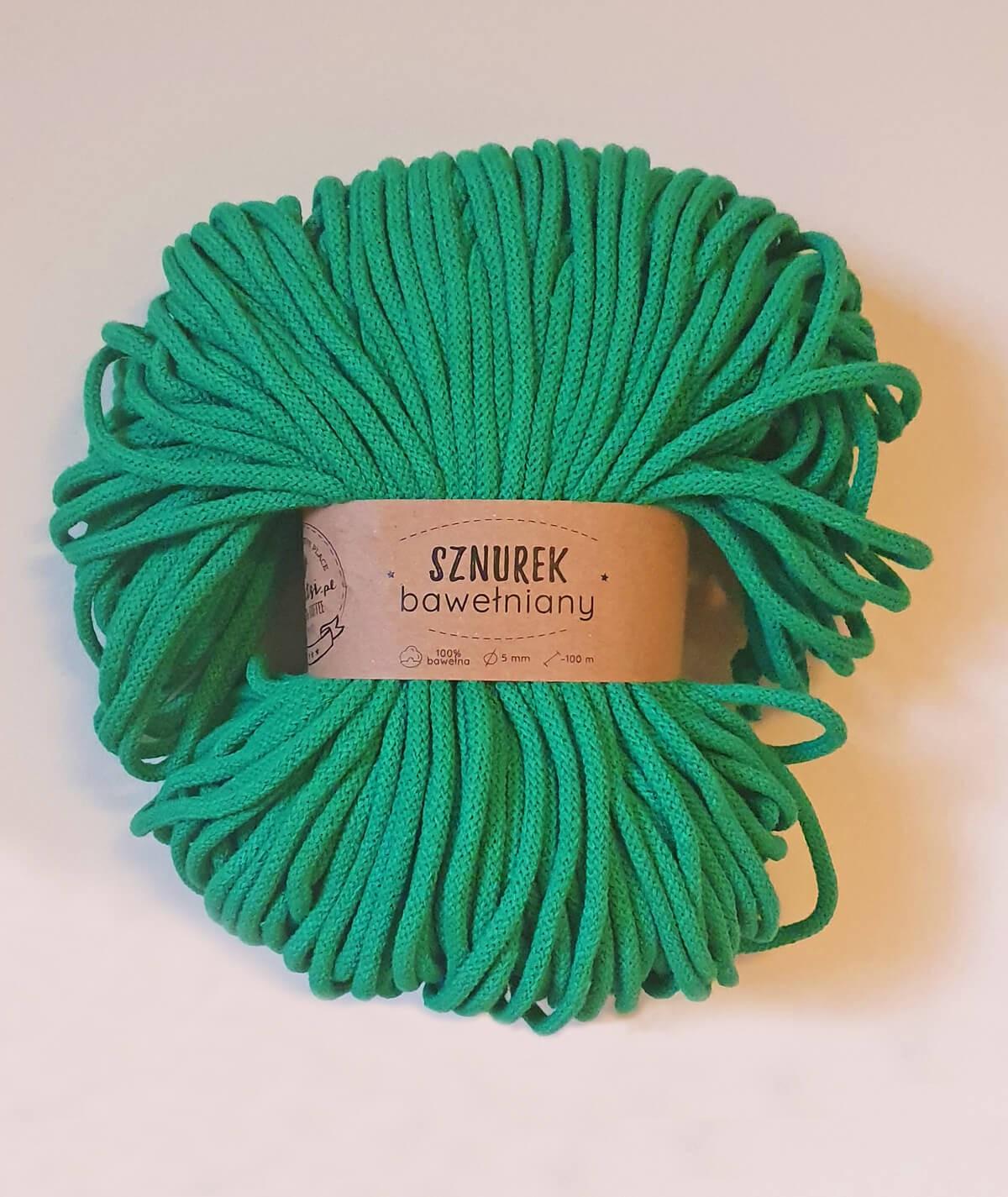 Sznurek bawełniany 5 mm zielony trawka do rękodzieła