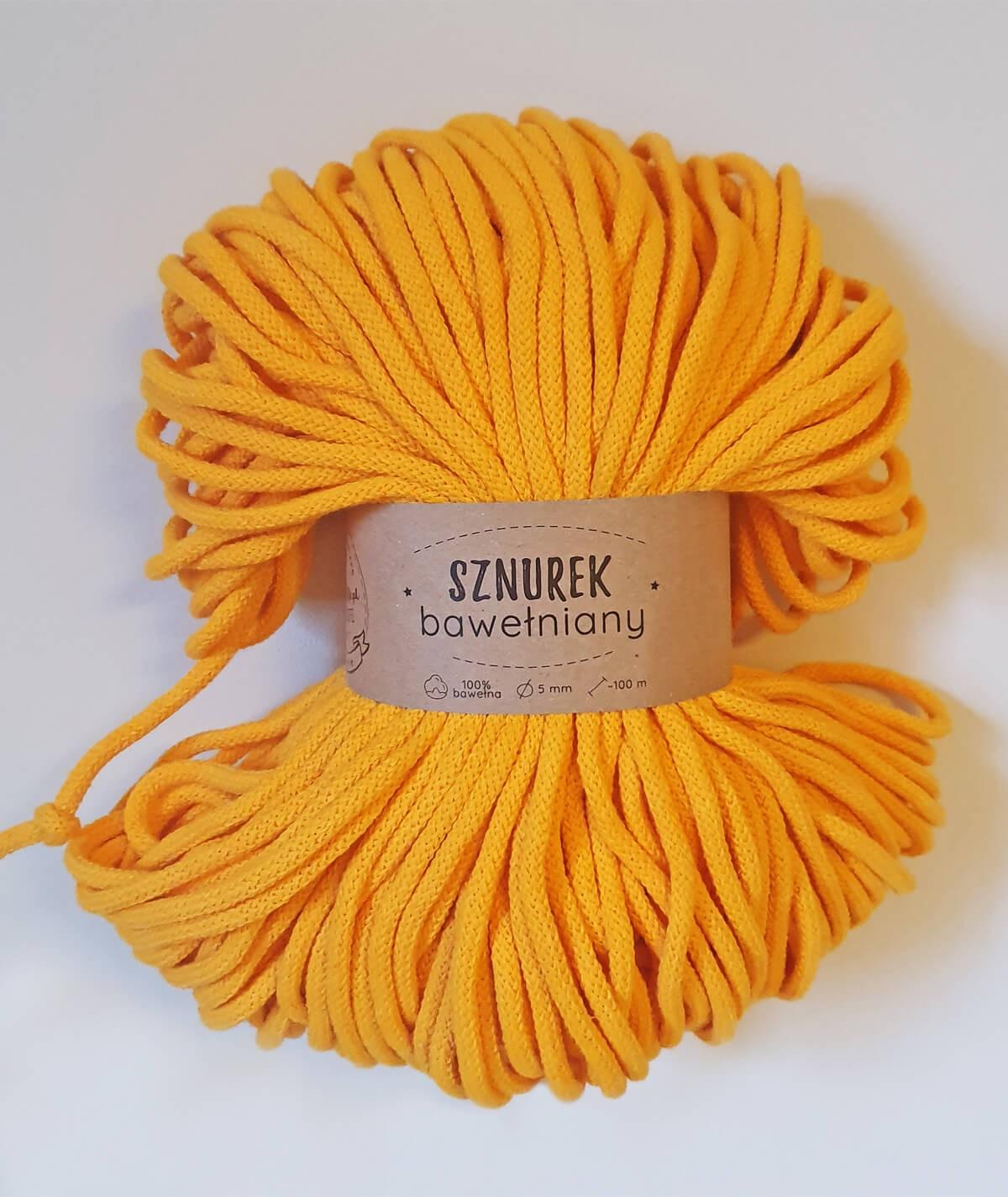 Sznurek bawełniany 5 mm żółty do rękodzieła