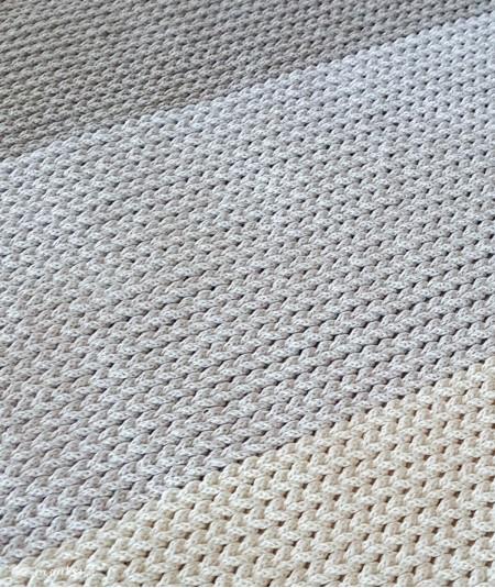 Lami dywan w paski ze sznurka 60 x 105 cm ręcznie robiony trzy kolory