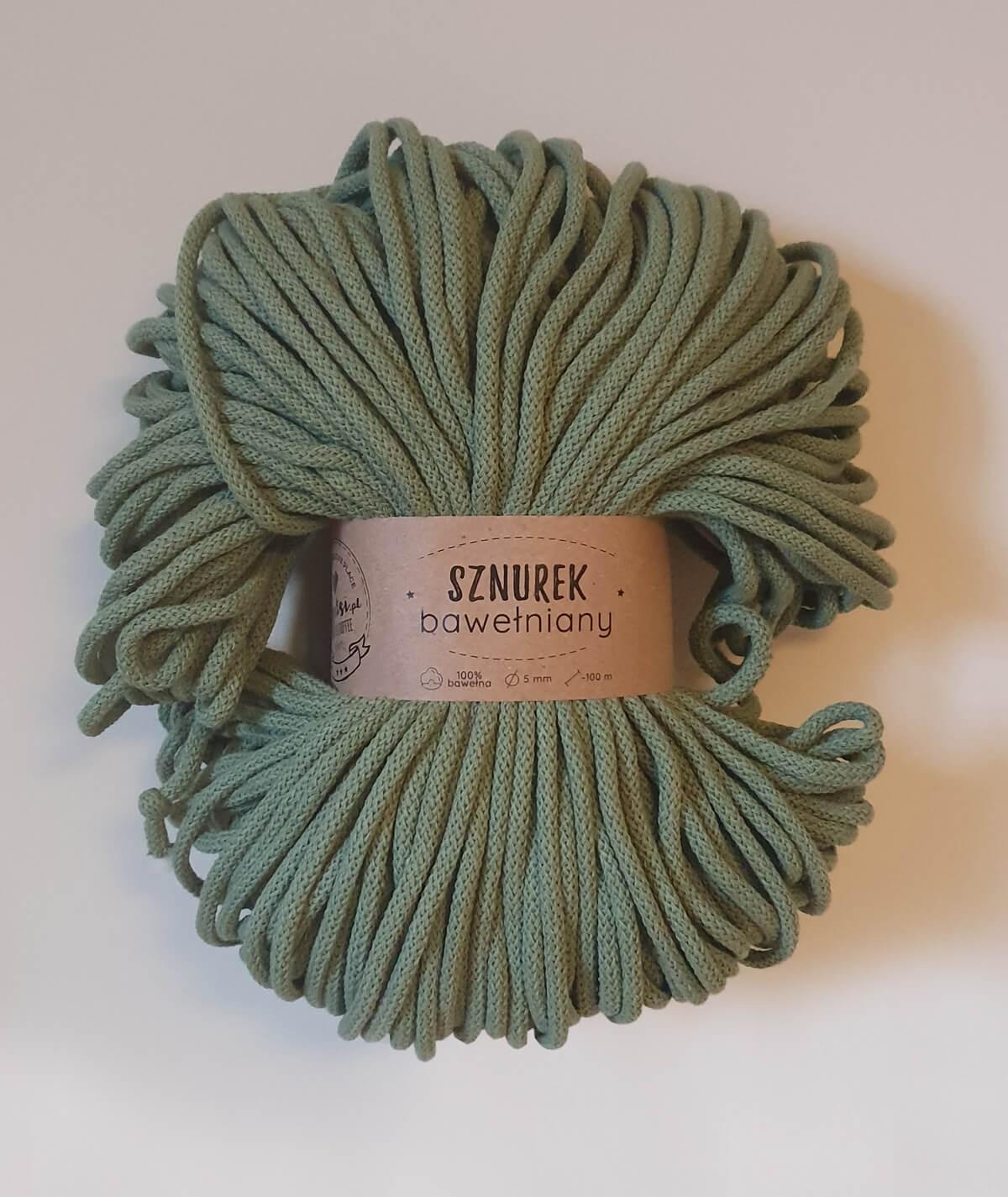Sznurek bawełniany 5 mm ciemny oliwkowy do rękodzieła