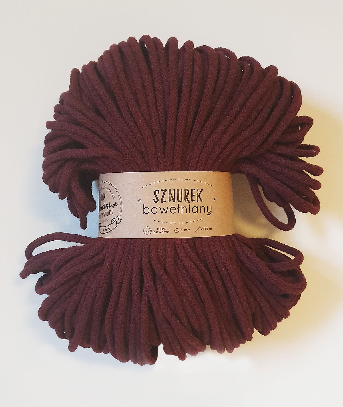 Sznurek bawełniany 5 mm burgundowy do rękodzieła