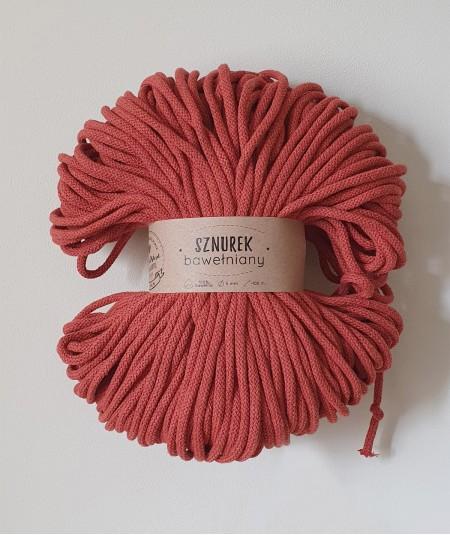 Sznurek bawełniany 5 mm ceglany do rękodzieła