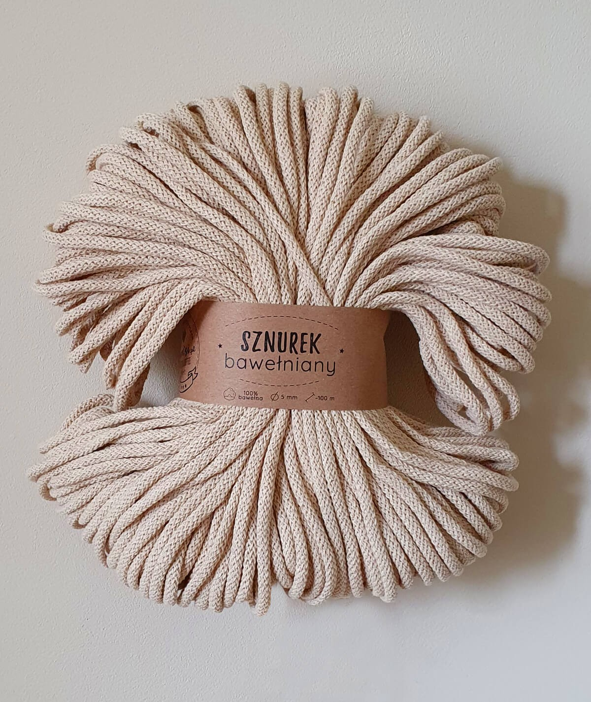 Sznurek bawełniany 5 mm naturalny do rękodzieła