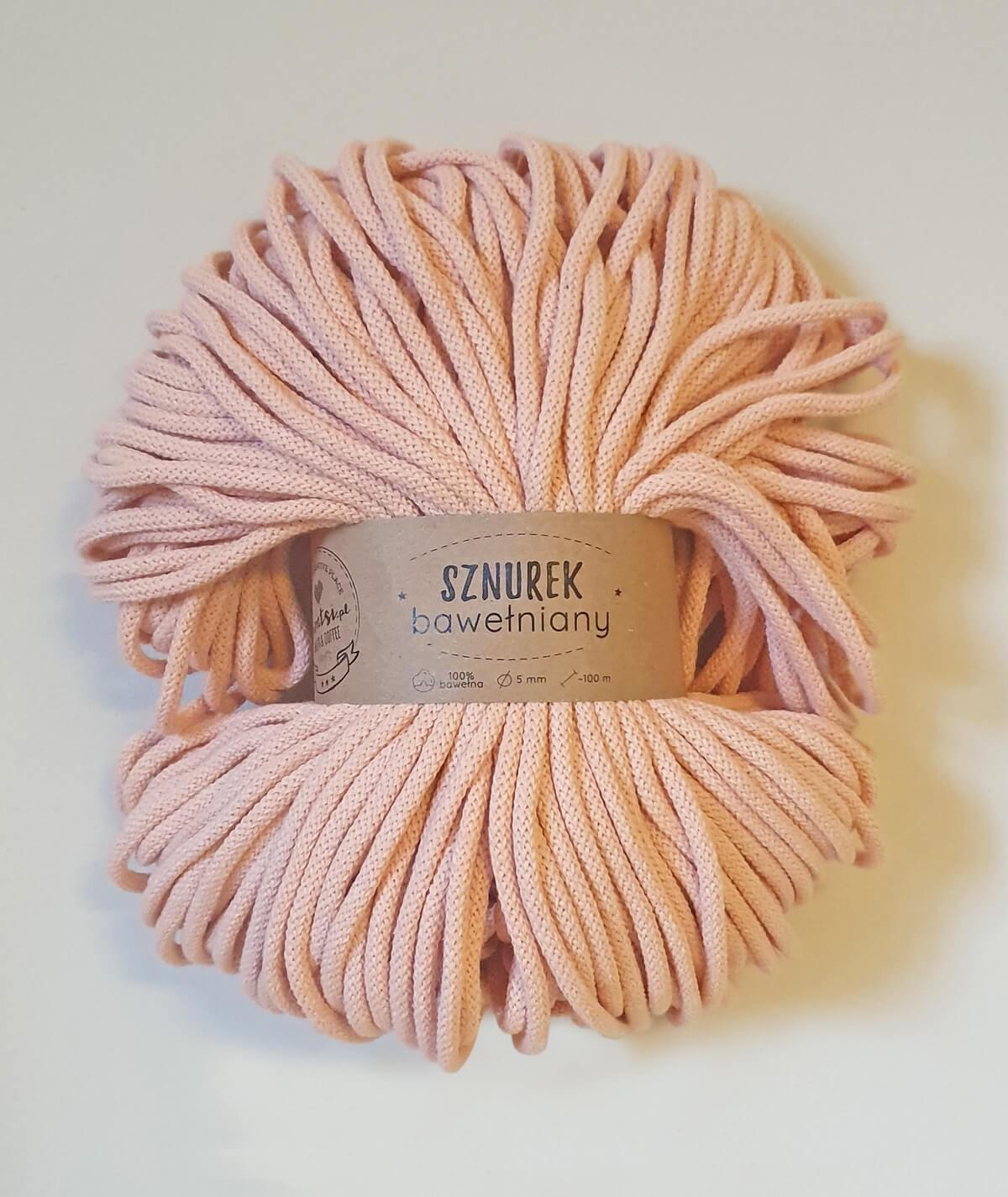 Sznurek bawełniany 5 mm łososiowy do rękodzieła