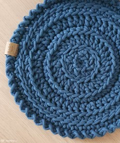 Boho podkładka na stół ze sznurka ręcznie robiona - kolor petrol