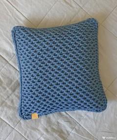 Kiki poduszka ozdobna ze sznurka ręcznie robiona - korol petrol