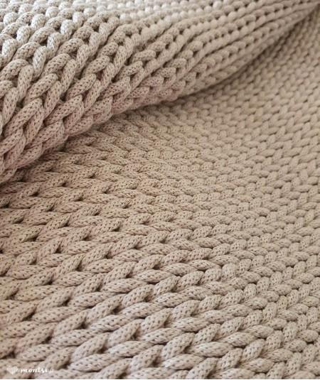 Siti dywan okrągły ze sznurka ręcznie robiony - kolor lniany beżowy
