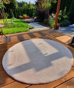 Siti dywan okrągły ze sznurka ręcznie robiony - 160 cm lniany beżowy