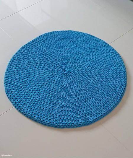 Siti dywan okrągły ze sznurka ręcznie robiony - kolor turkusowy - średnica 70 cm