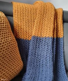 Asmi ręcznie dziergany koc ażurowy 90 x 150 cm - połączony kolor musztardowy i jeans
