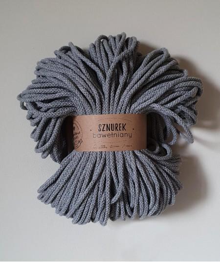 Sznurek bawełniany 5 mm ciemny szary do rękodzieła