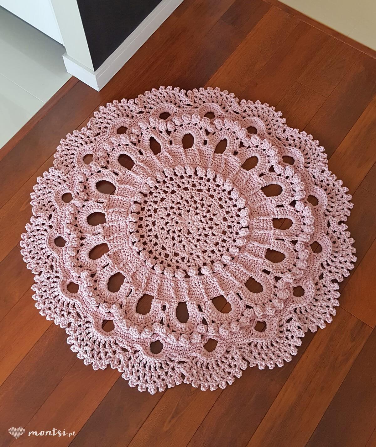 Lici dywan okrągły ze sznurka 130 cm ręcznie robiony - kolor pudrowy róż
