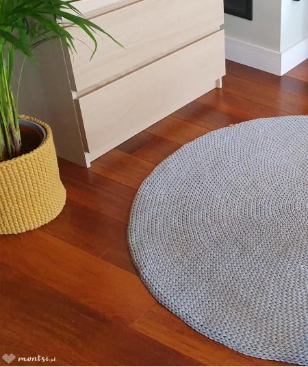 Siti dywan okrągły ze sznurka 70-200 cm ręcznie robiony - szary - 130 cm