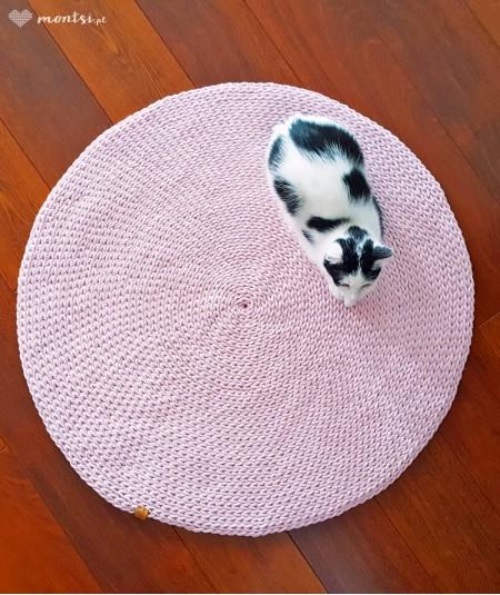 Siti dywan okrągły ze sznurka 70-200 cm ręcznie robiony - pudrowy różowy 80 cm