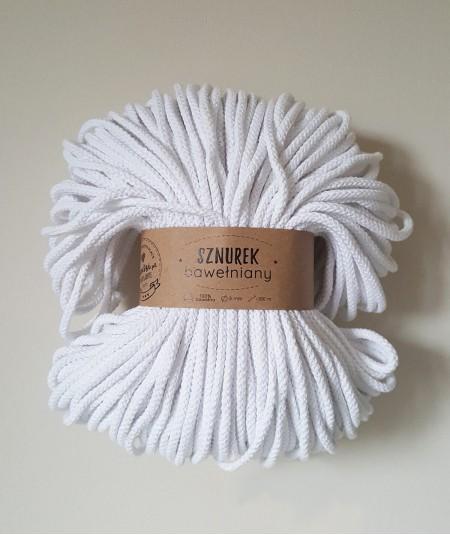 Sznurek bawełniany 5 mm biały do rękodzieła