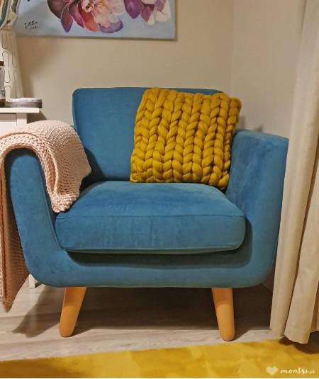 MrBulky poduszka ozdobna z czesanki - żółta tabka