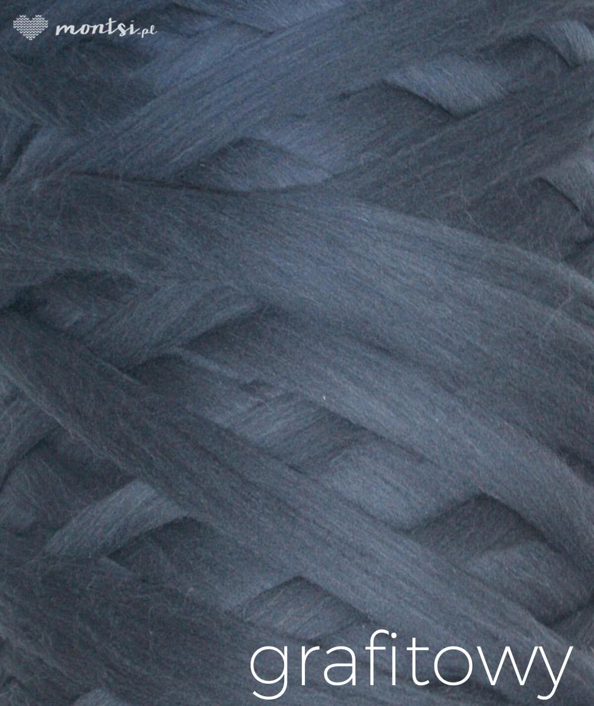 MrBulky koc z wełny czesankowej - kolor grafitowy