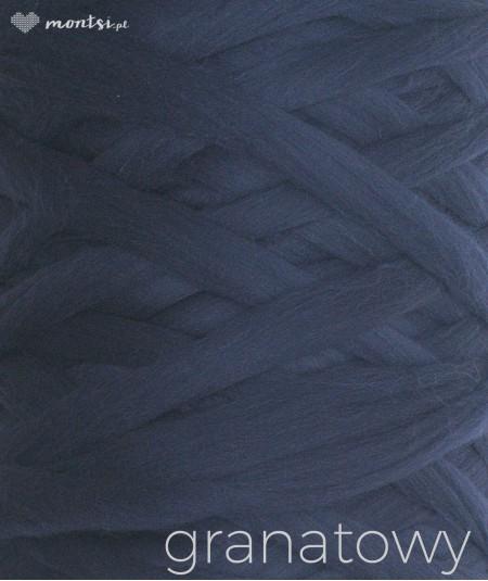MrBulky koc z wełny czesankowej - kolor granatowy