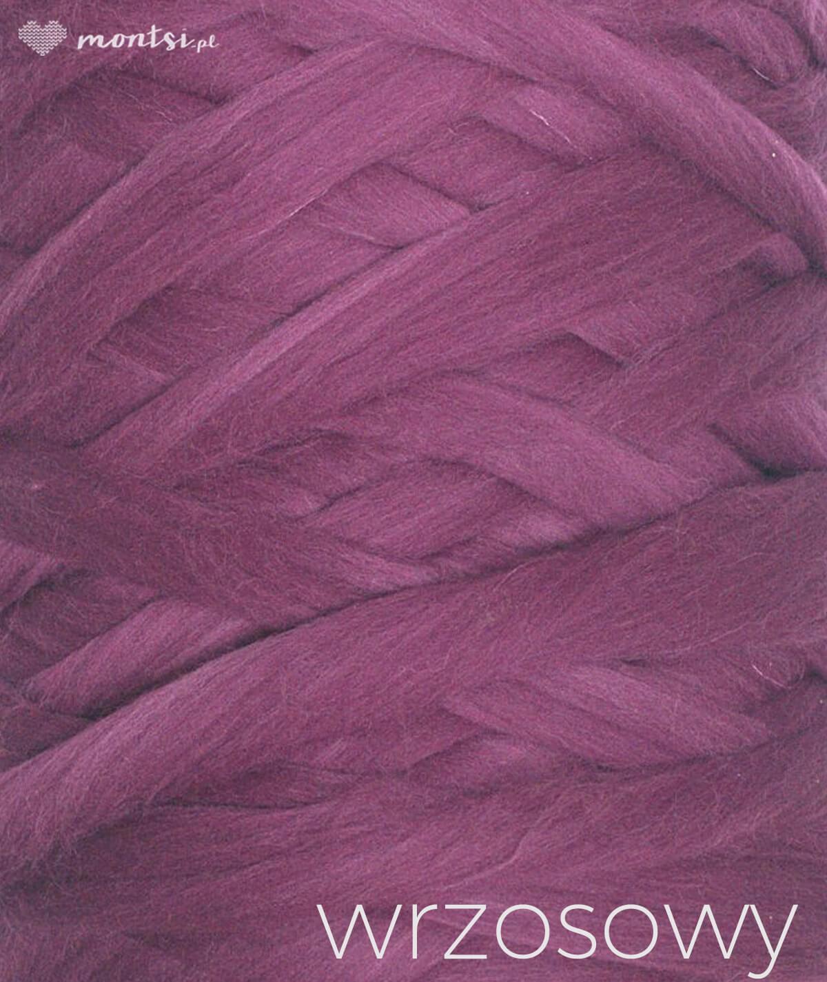 MrBulky koc z wełny czesankowej - kolor wrzosowy