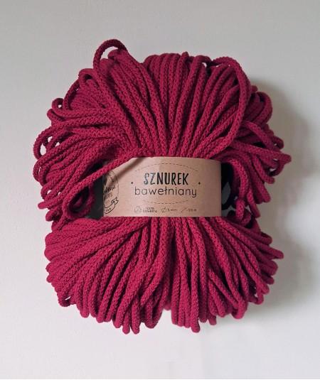 Sznurek bawełniany 5 mm bordowy do rękodzieła