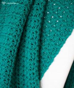 Fringe koc szydełkowy z frędzlami 85 x 160 cm różne kolory - kolor tukusowy włóczka akrylowa pled szydełkowy
