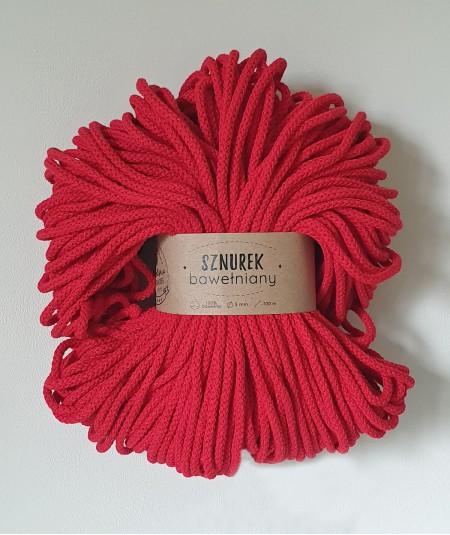 Sznurek bawełniany 5 mm czerwony do rękodzieła