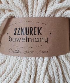 Sznurek bawełniany 5 mm ecru do rękodzieła