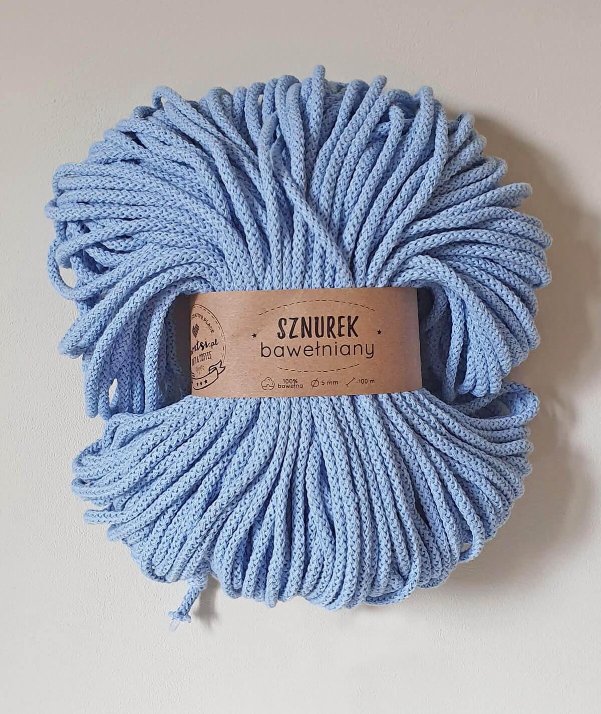 Sznurek bawełniany 5 mm jasny niebieski do rękodzieła