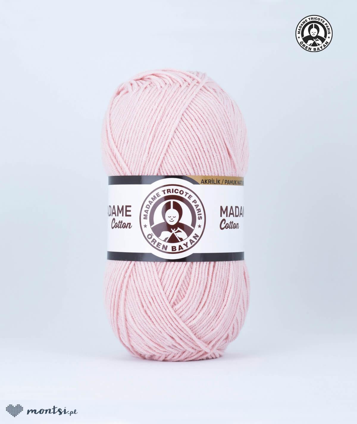 Włóczka Madame Cotton 028 pudrowy róż Madame Tricote Paris