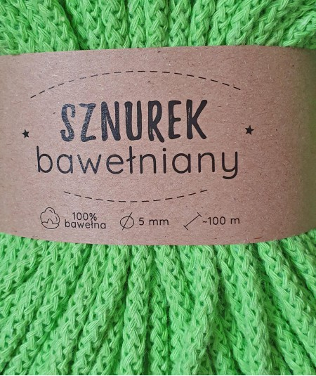 Sznurek bawełniany 5 mm pistacjowy do rękodzieła