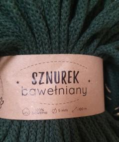 Sznurek bawełniany 5 mm zielony butelkowy do rękodzieła