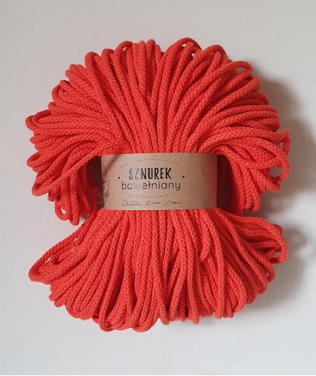 Sznurek bawełniany 5 mm pomarańczowy do rękodzieła